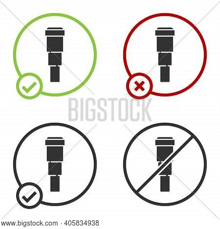 Black Spyglass Telescope Lens Icon Isolated On White Background. Sailor Spyglass. Circle Button. Vec