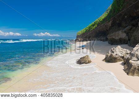 Tropical Beach At Paradise Island. Sandy Beach And Blue Ocean