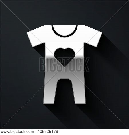 Silver Baby Clothes Icon Isolated On Black Background. Baby Clothing For Baby Girl And Boy. Baby Bod