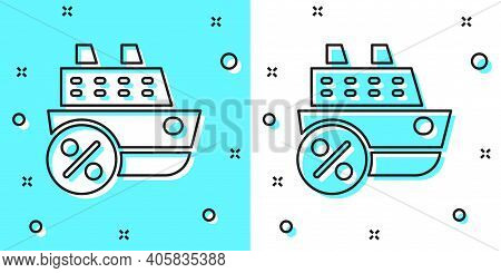 Black Line Cruise Ship Icon Isolated On Green And White Background. Travel Tourism Nautical Transpor