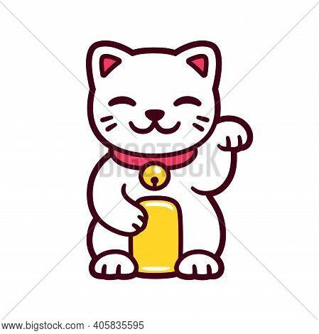 Cute Cartoon White Maneki Neko, Japanese Lucky Cat. Good Luck Feng Shui Kitty Drawing. Isolated Vect