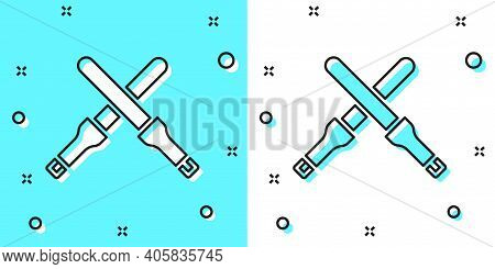 Black Line Marshalling Wands For The Aircraft Icon Isolated On Green And White Background. Marshalle