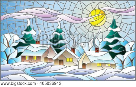 Illustration In A Stained Glass Style With A Winter Landscape, Cozy Village Houses Against A Snowdri
