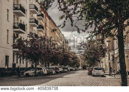 14 May 2019 Berlin, Germany - Cherry Blossom Trees In Residential District Prenzlauer Berg In Berlin