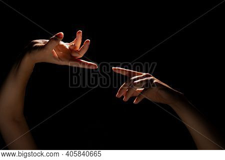 Two Hands Touch Each Other With A Finger, The Moment Of Creation, The Divine Concept Of The Moment O