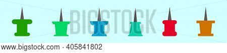 Set Of Thumb Tack Cartoon Icon Design Template With Various Models. Modern Vector Illustration Isola