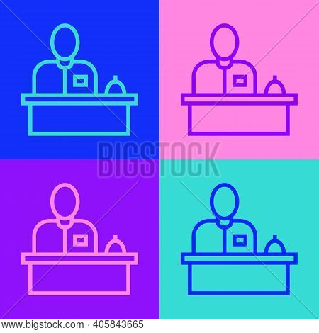 Pop Art Line Receptionist Standing At Hotel Reception Desk Icon Isolated On Color Background. Vector