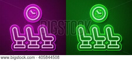Glowing Neon Line Waiting Room Icon Isolated On Purple And Green Background. Vector