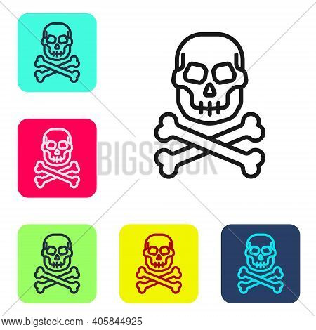 Black Line Skull On Crossbones Icon Isolated On White Background. Happy Halloween Party. Set Icons I