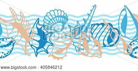 Seamless Pattern With Seashells. Tropical Underwater Mollusk Shells Decorative Illustration.