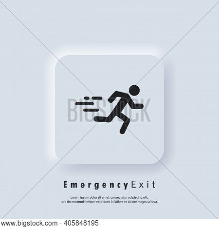 Emergency Exit Icon. Fire Door, Safe Way, Escape. Fire Exit. Vector. Neumorphic Ui Ux White User Int