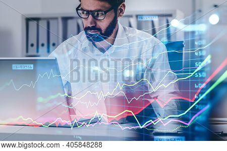 Businessman Or Stock Trader Analyzing Stock Graph Chart By Fibonacci Indicator, Side View Business W