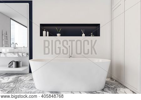 Concrete White And Blue Bathroom Interior With A Grey Marble Floor, A Bathtub, A Double Sink, Ladder