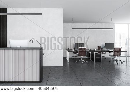 Grey And Wooden Reception Room And Open Space Office Room With Table And Computers Near Window. Rece