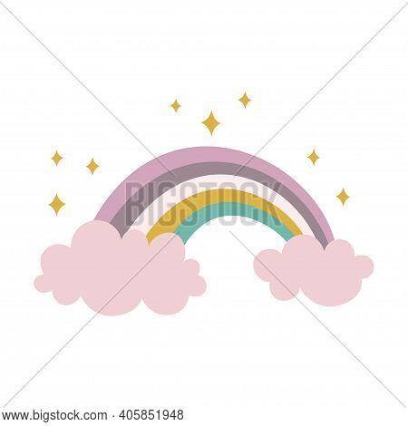 Cute Scandinavian Card With Rainbow, Vector Illustration, Creative Scandinavian Kids Texture For Fab