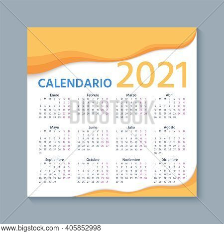 Spanish Calendar 2021 Year. Week Starts Monday. Simple Template Of Spain Calender. Stationery Layout
