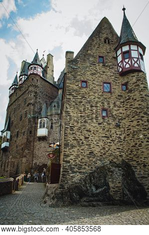 Eltz Castle, Rhineland-palatinate / Germany - May 23 2019: Eltz Castle In Western Germany. This Pict