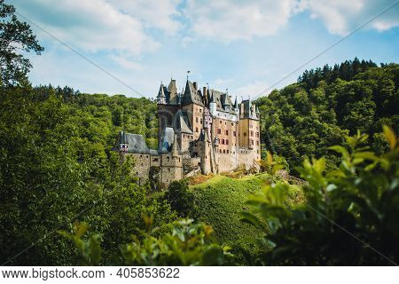 Eltz Castle In Western Germany. This Picturesque Castle Is One Of The Most Famous Travel Destination