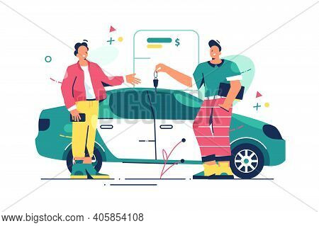 Man Buying New Car Vector Illustration. Seller Man Hands Over Keys Of Car Owner Flat Style. Purchase