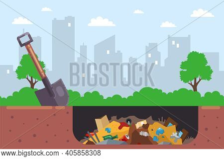 It Is Illegal To Bury City Garbage In A Pit. Flat Vector Illustration.