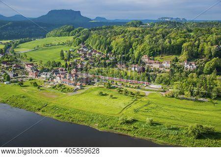 18 May 2019 Rathen, Saxony, Germany - Panorama Of The Bastei Bridge, River Elbe And Small Town Kuror