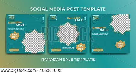 Social Media Post Template For Ramadan Month Promotion Sale. Green Social Media Template Design.