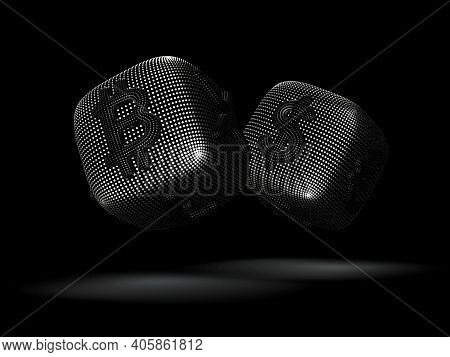 Digital 3d Silver Dices With Cryptocurrency And Fiat Currency Symbols Bitcoin And Dollar. Concept Of