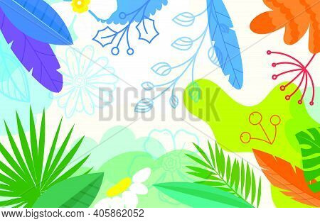 Creative Doodle Artistic Wallpaper. Abstract Background With Color Hand Drawn Geometric Shapes. Sket