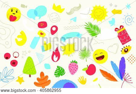 Creative Doodle Artistic Elements Vector Set. Abstract Backgriund With Color Hand Drawn Geometric Sh