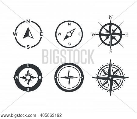 Compass Vector Icons Set Isolated On White Background
