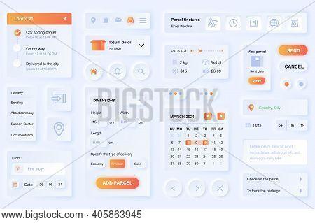 User Interface Elements For Delivery Mobile App. Unique Neumorphic Design Ui, Ux, Gui, Kit Elements