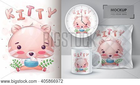 Cute Kitty - Poster And Merchandising. Vector Eps 10