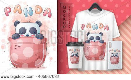 Panda In Cup - Poster And Merchandising. Vecor Eps 10