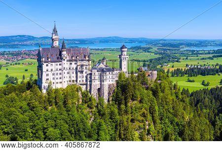 Neuschwanstein Castle, Germany, Europe. Beautiful View Of Fairytale Castle In Munich Vicinity, Famou