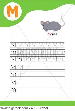 Letter M With A Picture Of Mouse And Seven Lines Of Letter M Writing Practice. Handwriting Practice