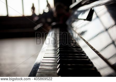 Keyboard Piano Close Up Photo, Soft Focus. Beautiful Close Up Photo Of Piano Keys. Piano Keys Close