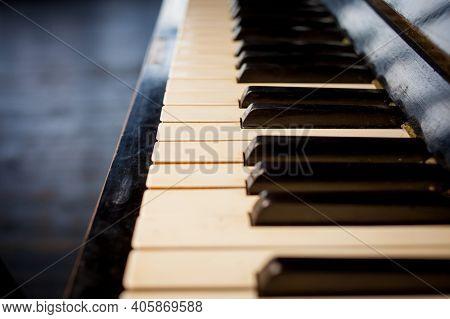 Keyboard Piano Close Up Photo, Soft Focus. Beautiful Close Up Photo Of Piano Keys. Piano Keys Close