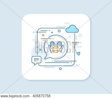 Builders Union Line Icon. Abstract Square Vector Button. Care Ocnstruction Workers Sign. Engineer Or