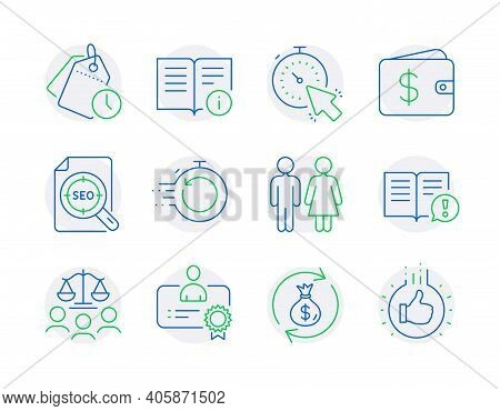 Line Icons Set. Included Icon As Money Exchange, Dollar Wallet, Fast Recovery Signs. Restroom, Facts