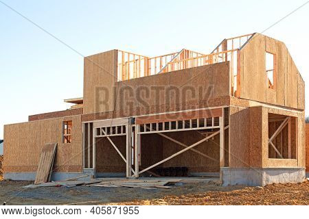 Wall And Rafters Plywood House Frame Site Work Studs