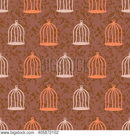 Simple Wired Birdcages Seamless Vector Pattern. Surface Print Design For Fabrics, Stationery, Scrapb