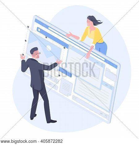 Isometric Flat Design Vector Concept Of Web Development, Programmer Engineering And Coding Website A
