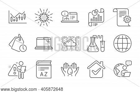 Cloud System, Chemistry Lab And Vocabulary Line Icons Set. Report Document, Time Management And Glob