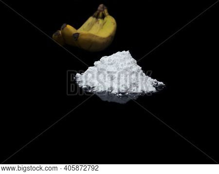 Welcome To Colombia - Cocaine Drug Powder And Bananas On Black Background