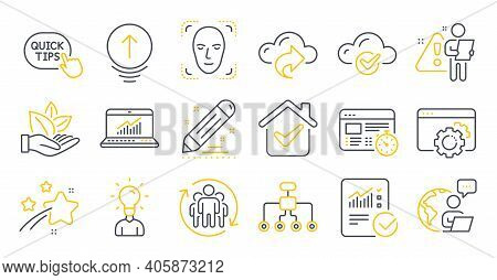 Set Of Science Icons, Such As Teamwork, Seo Gear, Web Timer Symbols. Restructuring, Face Detection,