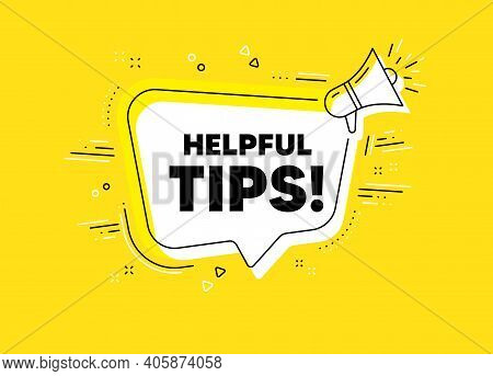 Helpful Tips Symbol. Megaphone Yellow Vector Banner. Education Faq Sign. Help Assistance. Thought Sp