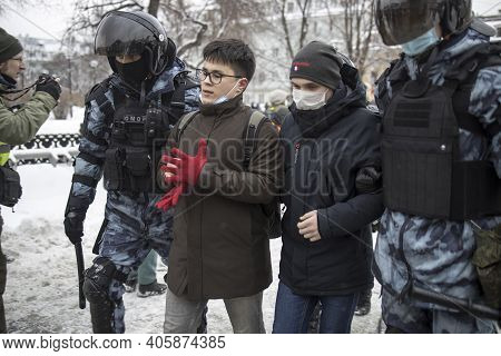Moscow, Russia - 31 January 2021, Mass Protests In Russia Call For Alexei Navalny's Release. Police