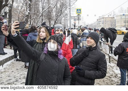 Moscow, Russia - 31 January 2021, Mass Protests In Russia Call For Alexei Navalny's Release. Young G