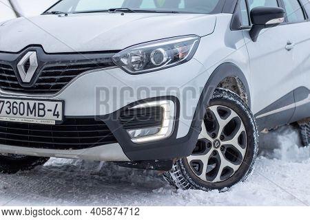 Grodno, Belarus-01.31.2021: A Fragment Of The Front Part Of A Renault Capture Or Renault Captur Suv