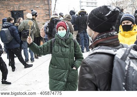 Moscow, Russia - 31 January 2021, Mass Protests In Russia Call For Alexei Navalny's Release. A Girl